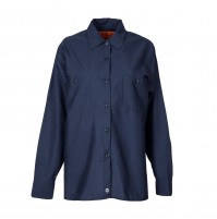 Women's Long Sleeve Work Shirt, Navy Blue