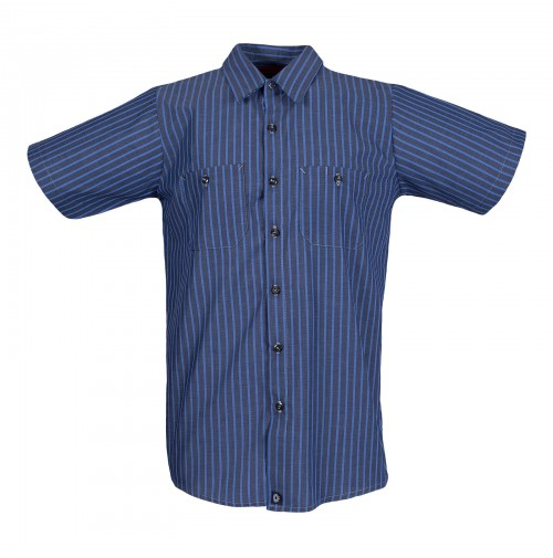S12EXC Men's Short Sleeve Gray/Blue Stripe Industrial Work Shirt