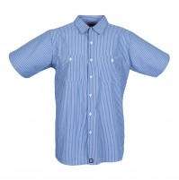 S12GM Men's Short Sleeve Blue/Light Blue Stripe Industrial Work Shirt