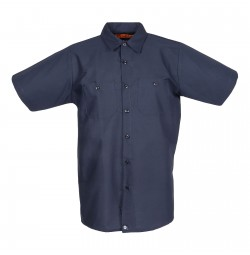 S12NV Men's Short Sleeve Navy Blue Industrial Work Shirt