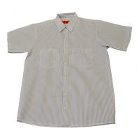 S12WBL Men's Short Sleeve White/Blue Stripe Industrial Work Shirt