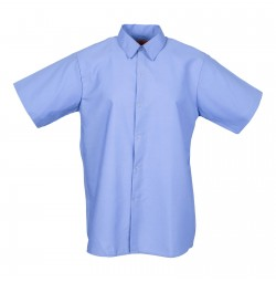 Men's Short Sleeve Gripper Front Gulf Blue Industrial Work Shirt