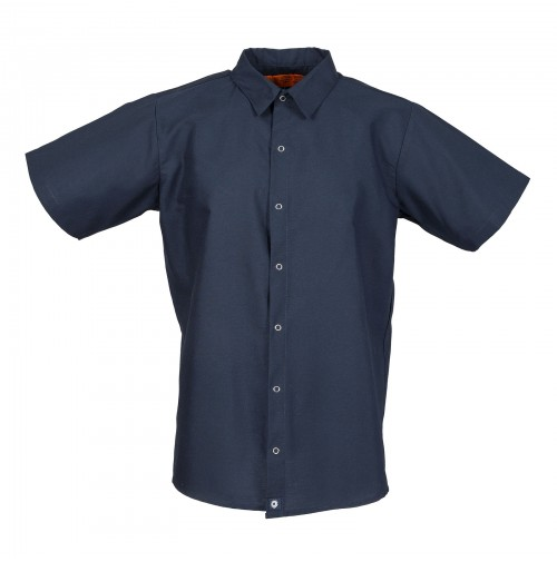 Men's Short Sleeve Gripper Front Navy Industrial Work Shirt