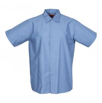 Men's Short Sleeve Gripper Front Postman Blue Industrial Work Shirt