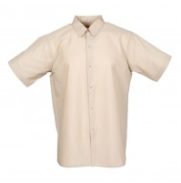Men's Short Sleeve Gripper Front Tan Industrial Work Shirt