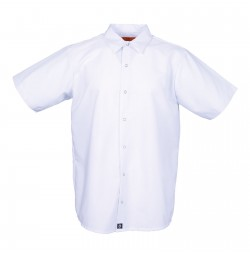 Men's Short Sleeve Gripper Front White Industrial Work Shirt