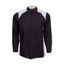 Motorsport Long Sleeve Work Shirt, Black with Gray