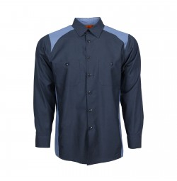 Motorsport Long Sleeve Work Shirt, Navy with Postman Blue