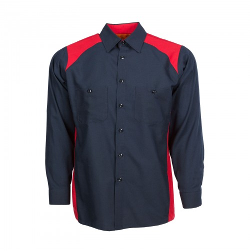 Motorsport Long Sleeve Work Shirt, Navy with Red