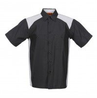 Motorsport Short Sleeve Work Shirt, Black with Gray