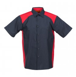 Motorsport Short Sleeve Work Shirt, Navy with Red