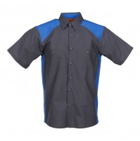 Motorsport Short Sleeve Work Shirt, Charcoal with Royal