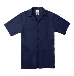 Professional Zip Front Shirt, Navy Blue