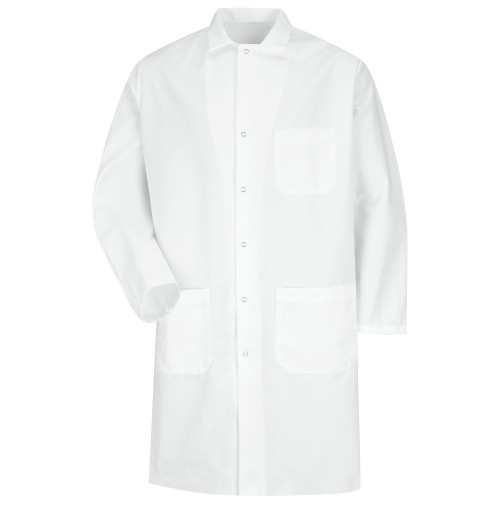 Red Kap® KT18WH Gripper Front White Twill Butcher Coat