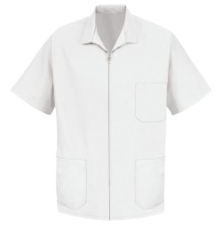 Red Kap KP44 Men's Zip-Front Smock - White