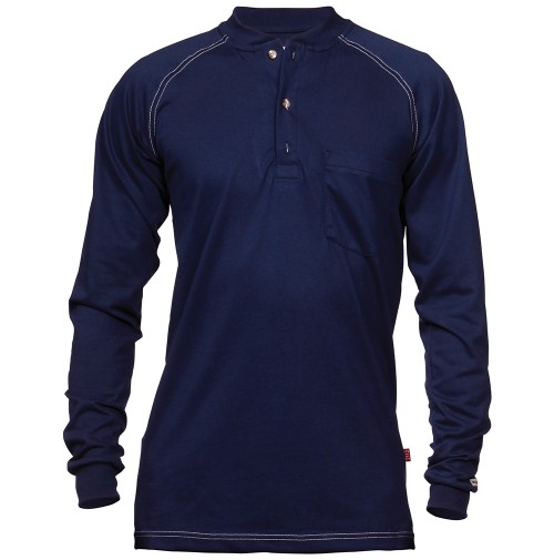 Flame Resistant Navy Henley Cotton Jersey Shirt