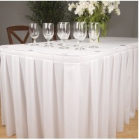 "Head Table Skirt, Twill Box Pleat, 3 sides w/6"" Return"