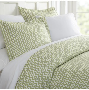 Puffed Chevron Patterned 3-Piece Duvet Cover Set