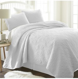 3-Piece Damask Quilted Coverlet Set