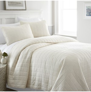 3-Piece Square Quilted Coverlet Set
