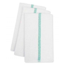 Center Stripe Towels, Green
