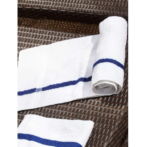 Blue Center Stripe Terry Hand Towels