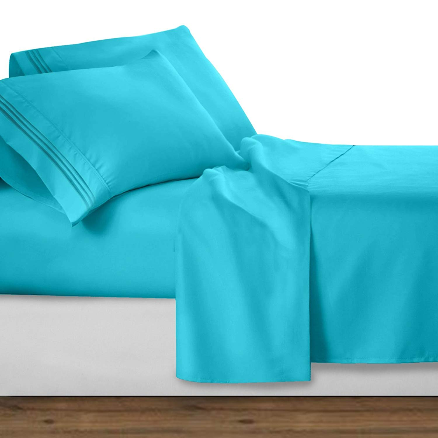 Beach Blue Deluxe Microfiber Bed Sheet Set, Clara Clark® Premier 1800  Collection