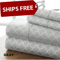 Quatrefoil Patterned 4-Piece Sheet Set by ienjoy Home®