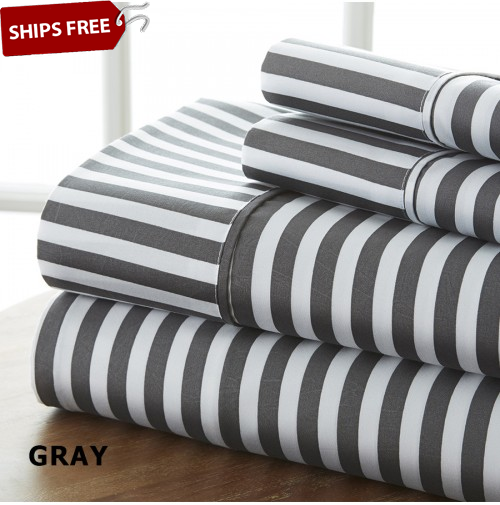 Ribbon Patterned 4-Piece Sheet Set by ienjoy Home®
