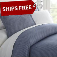 Blue Diamond Patterned 3-Piece Duvet Cover Set by ienjoy Home®