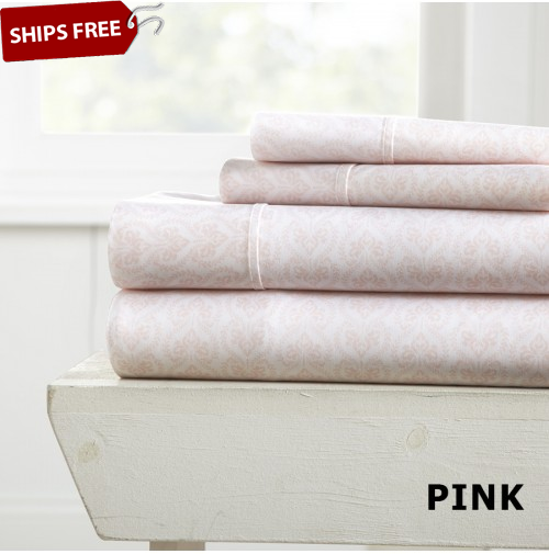 Classic in Pink Patterned 4-Piece Sheet Set by ienjoy Home®