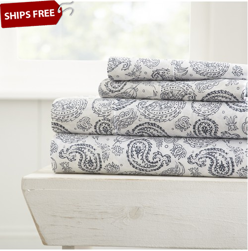 ienjoy Home® Coarse Paisley Patterned 4-Piece Sheet Set