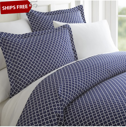 Quatrefoil Patterned 3-Piece Duvet Cover Set