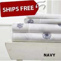 Indigo Flowers Patterned 4-Piece Sheet Set