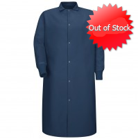 Red Kap® KS60NV Pocketless Navy Butcher Coat with Knit Cuffs