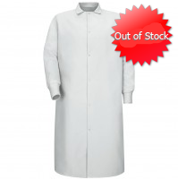 Red Kap® KS60WH Pocketless White Butcher Coat with Knit Cuffs
