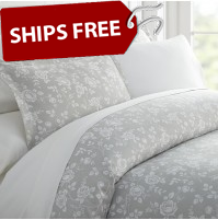 Rose Gray Patterned 3-Piece Duvet Cover Set