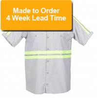 S12EN Men's Enhanced Visibility Gray Short Sleeve Work Shirt