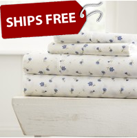 Soft Floral Patterned 4-Piece Sheet Set
